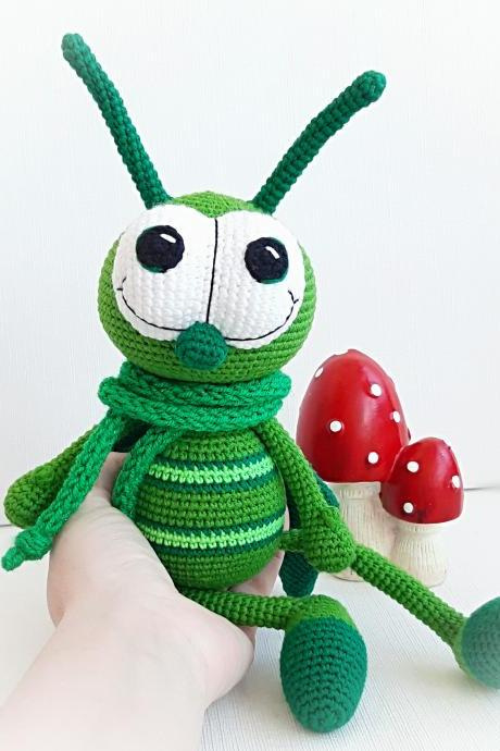 Crochet toy Grasshopper, Christmas gifts for kids,interior toys,Amigurumi insects,Baby shower gift,Birthday Gift Toy, Present for a child