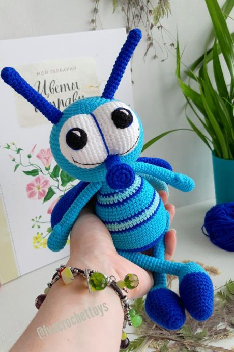 Stuffed toy fly,crochet toy insect,Baby shower gift,gift idea for Christmas,nursery toys for babies and toddlers,Baby photo prop,bugs toys