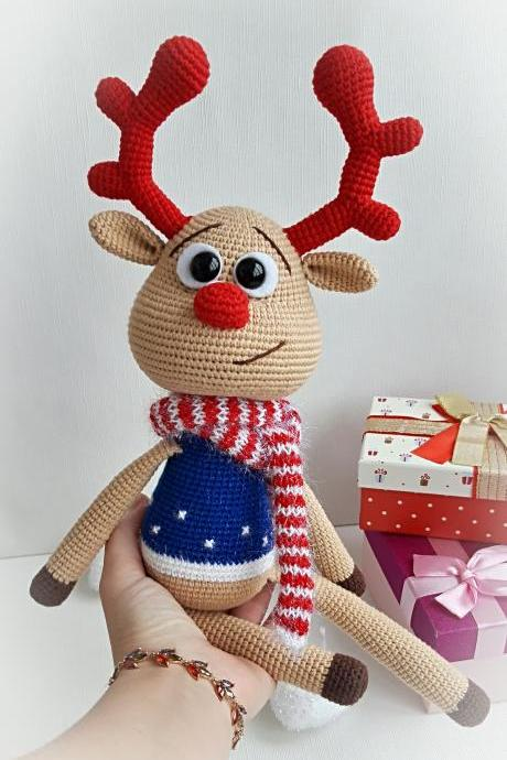 Plush beige deer toy,gifts for Christmas holiday,gift idea for Birthday,Stuffed Animals toys,gift for boys,crochet deer toy,gift for girl